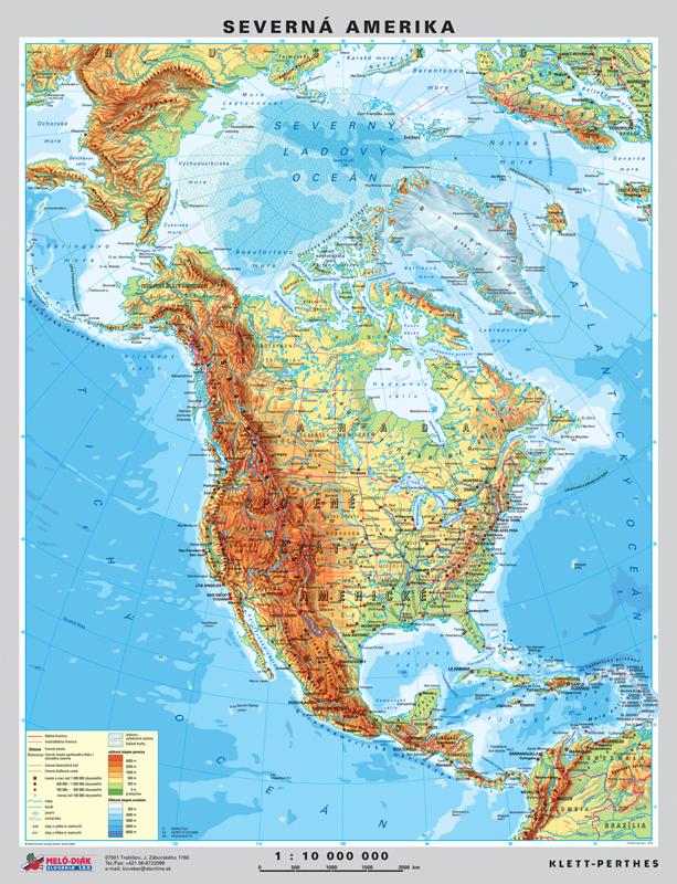 Mapa Severnej Ameriky