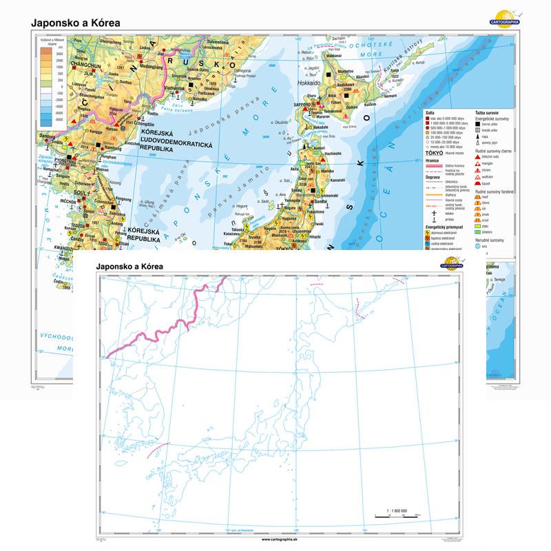 Japonsko A Korea Vseobecnogeograficka Slepa Mapa Duo 160x120cm