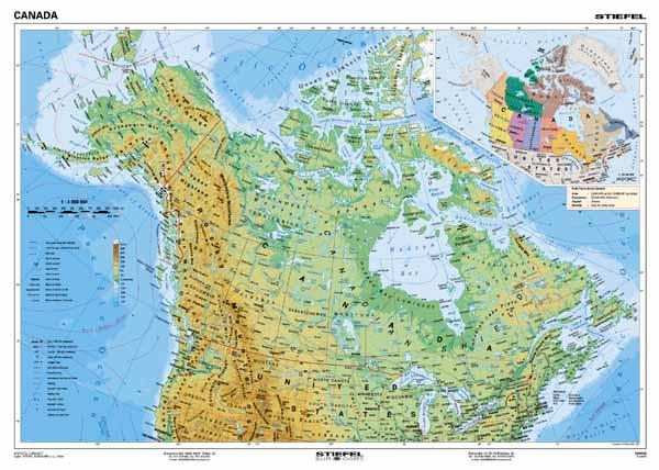 Kanada Vseobecnogeograficka Mapa 160x120cm